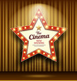 cinema theater sign star shape gold curtain light vector image vector image