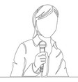 continuous line drawing reporter with microphone vector image