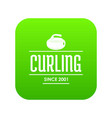 curling icon green vector image vector image