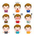 Cute boy faces showing different emotions vector image vector image