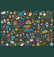 doodle cartoon set school objects and vector image