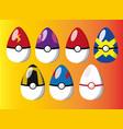 eggs pokeballs pokemon image vector image vector image