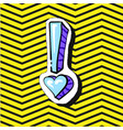 fashion patch badge pin with heart emphasys vector image