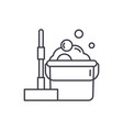 floor cleaning line icon concept floor cleaning vector image vector image
