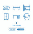 furniture thin line icons set vector image vector image
