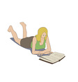 Girl lying reading book vector image vector image