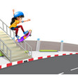 girl playing skatebaord on street vector image vector image