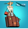 girl travel suitcase airport vector image vector image