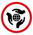 Global Protection Flat Rounded Icon vector image vector image