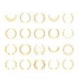 golden circular laurel or olive wreaths set vector image vector image