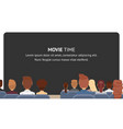 group people sitting in cinema movie time vector image