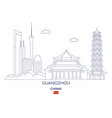 guangzhou city skyline vector image vector image