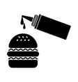 hamburger silhouette with sauce bottle vector image vector image