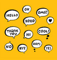 hand drawn set of speech bubbles with handwritten vector image vector image