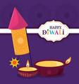 happy diwali festival fireworks diya lamps vector image vector image