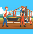 house building process construction workers vector image vector image