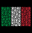 italy flag collage of paw footprint icons vector image vector image