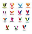 letter v icons and symbols vector image vector image