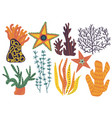 marine or aquarium natural seaweeds set colorful vector image vector image