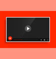 modern red video media player template design vector image
