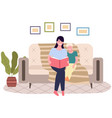mom telling fairy tales to her daughter at bed vector image