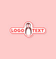 paper sticker on stylish background penguin logo vector image vector image