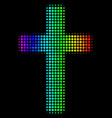 rainbow colored dot religious cross icon vector image vector image