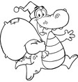 Royalty Free RF Clipart Black and White Crocodile vector image vector image