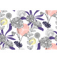 seamless floral pattern with hand drawn of violet vector image vector image