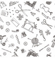 seamless pattern of sewing tools and materials or vector image vector image