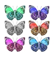 Set of spotted beautiful watercolor butterflies vector image