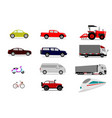 set of vehicles on white background vector image