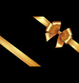 shiny golden satin ribbon gold bow vector image