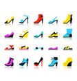 shoes simple flat color icons set vector image