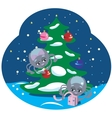 Spiders with a Christmas Tree vector image vector image