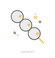 Thin line icons Meatball vector image vector image