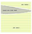 Torn yellow page vector image vector image