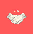vintage drawing handshake in engraving style vector image