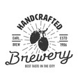 vintage monochrome brewery logotype concept vector image vector image