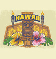 vintage textured hawaii design vector image vector image