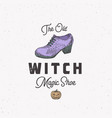 witch shoe halloween logo or label template hand vector image vector image