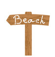 wooden sign for beach direction vector image