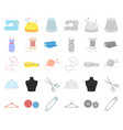 atelier and sewing cartoonmono icons in set vector image vector image
