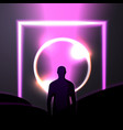 banner in futurism style man and light beam vector image vector image