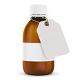 brown plastic bottle with paper tag blank title vector image