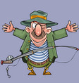 cartoon male fisherman with a fishing rod shows vector image vector image
