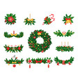christmas decoration spruce and jingle bells vector image vector image