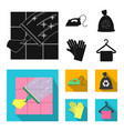 cleaning and maid black flat icons in set vector image vector image