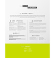 Creative simple cv template with green stripe in vector image vector image