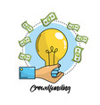 crowdfunding business with bulb idea and bills vector image